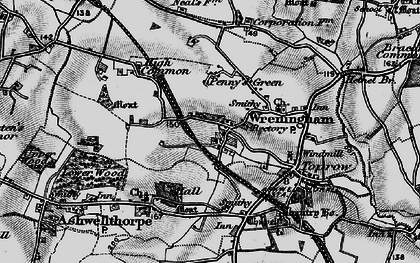 Old map of Wreningham in 1898