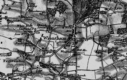 Old map of Wrentham Great Wood in 1898