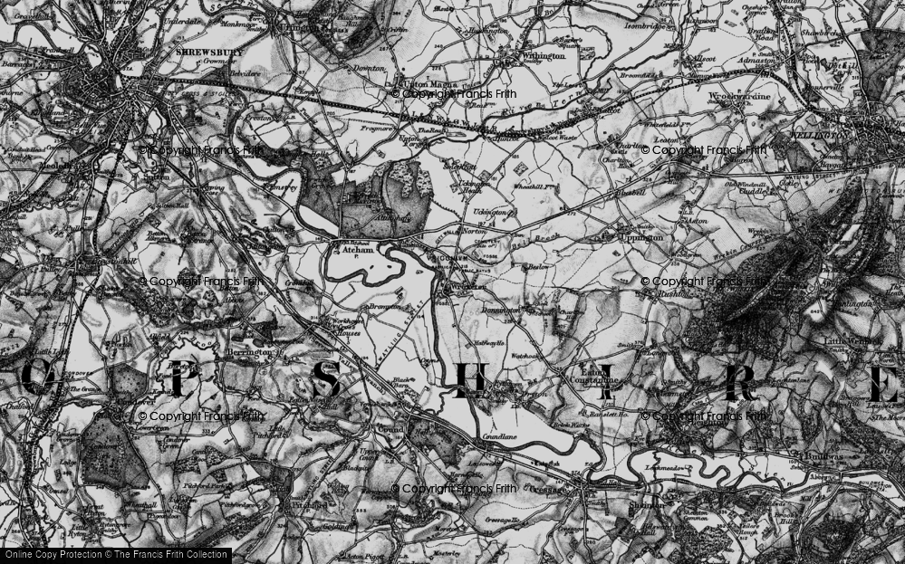 Old Map of Wroxeter, 1899 in 1899