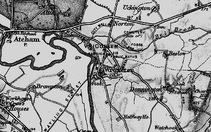 Old map of Wroxeter Roman City in 1899