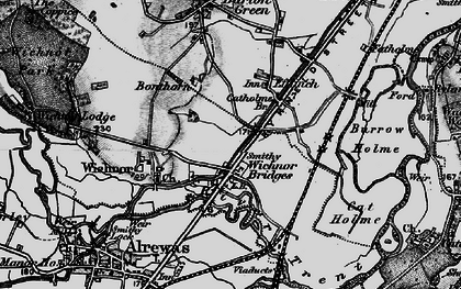 Old map of Wychnor Bridges in 1898
