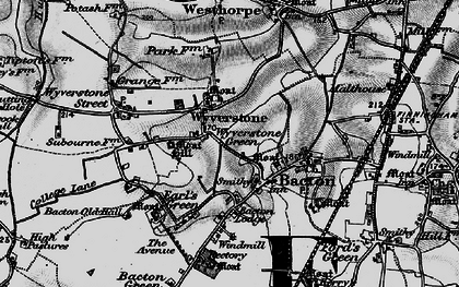 Old map of Wyverstone in 1898