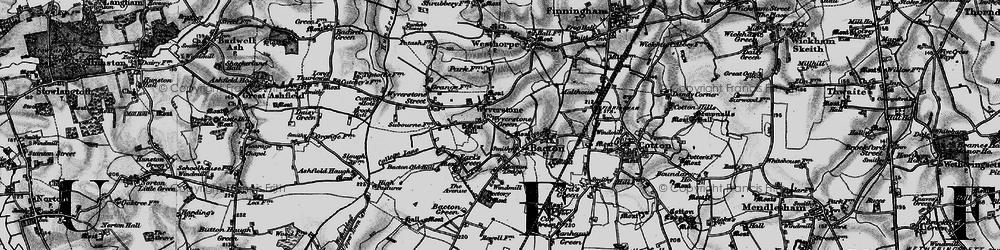 Old map of Wyverstone Green in 1898