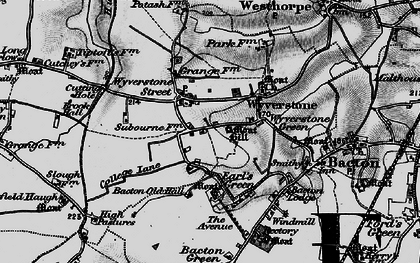 Old map of Wyverstone Street in 1898