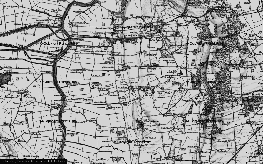 Old Map of Historic Map covering Ashby Decoy in 1895