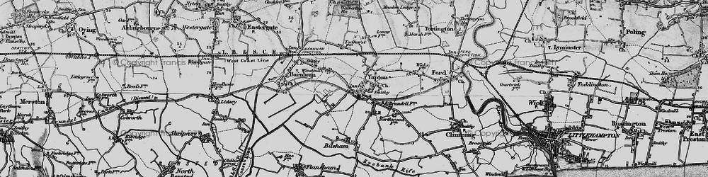Old map of Yapton in 1895