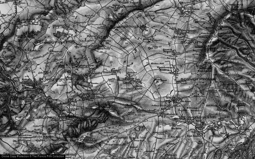 Old Map of Yatesbury, 1898 in 1898