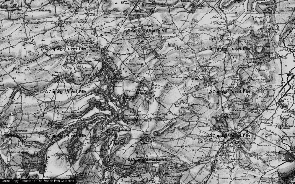Old Map of Yatton Keynell, 1898 in 1898