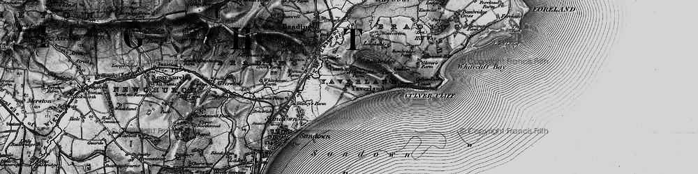 Old map of Yaverland in 1895