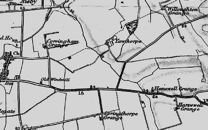 Old map of Willoughton Grange in 1895