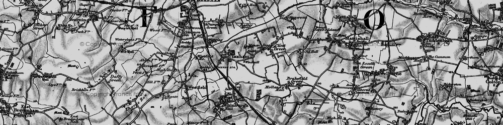 Old map of Yaxham in 1898