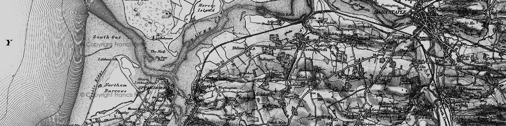 Old map of Yelland in 1895
