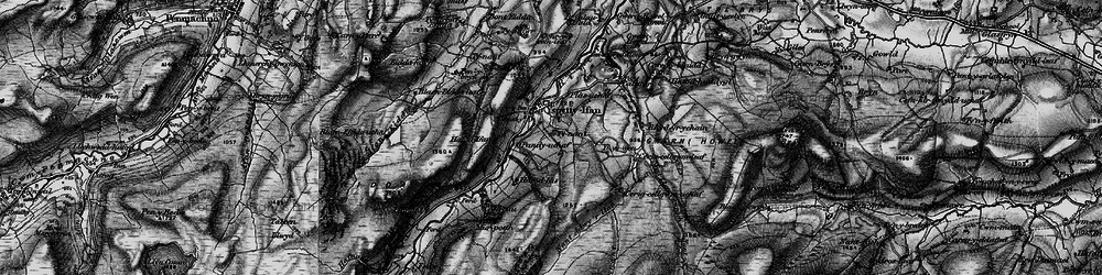 Old map of Afon Caletwr in 1899